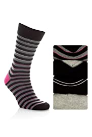 4 Pairs of Autograph Assorted Ribbed Socks [T10-9730-S]