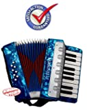 D'Luca G104-BL-PL Kids Piano Accordion 17 Keys 8 Bass Blue Perloid