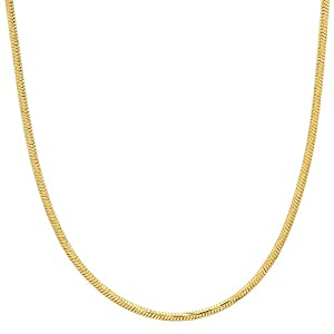 1.5mm Gold Plated Snake Chain Necklace, 18