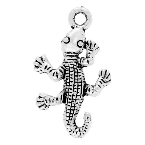 10pcs Tibetan Silver Antique Tibet Animal Gecko Charms Pendants 26x16x2mm U-TS3414
