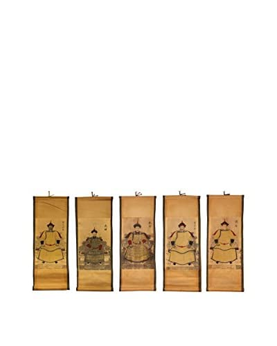 Asian Loft Set of 5 Hand-Painted Small Emperor Scrolls, Natural