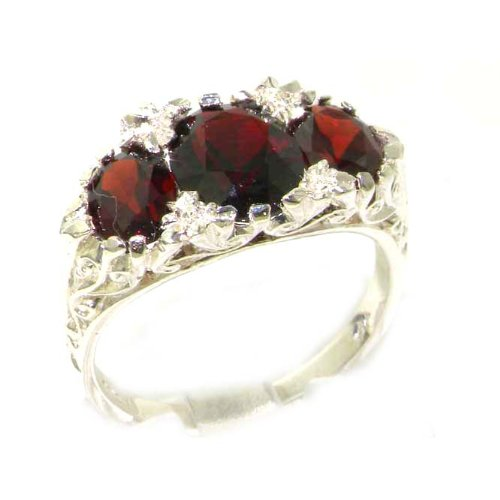 Large High Quality Solid Sterling Silver Natural Garnet Victorian Designed Ring - Size 12 - Finger Sizes 5 to 12 Available - Suitable as an Anniversary ring, Engagement ring, Eternity ring, or Promise ring