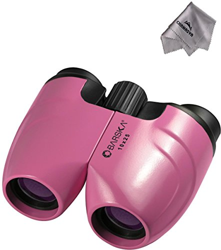 10X25 Colorado Binoculars, Pink Co11370 With Chanasya Polish Cloth Bundle
