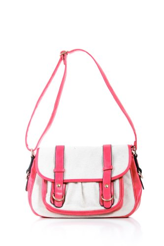 Canvas Rainbow Messenger Bag in Fuchsia