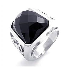 buy Konov Mens Stainless Steel Ring, Black Silver, Size 7