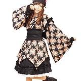 子猫風花柄ゴシック浴衣 L471 ゴスロリ ロリータ パンク コスプレ コスチューム メイド 黒 m