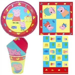 Peppa Pig Party Tableware Pack for 8, 8 Cups, 8 Plates, 1 Pack of