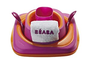Beaba Softlines 7-Piece Dinner Set (Plate, Bowl, Cup, Spoon, Fork, Bib and Lid) by Beaba