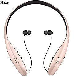 Bluetooth Headsets, Sikadeer HBS-960 Music Sports Headphones, Wireless Hands-free Bluetooth Headsets, Neckband Noise Cancelling Earbuds for LG/Ipad/Iphone and Other Bluetooth Device (HBS-960-Gold)