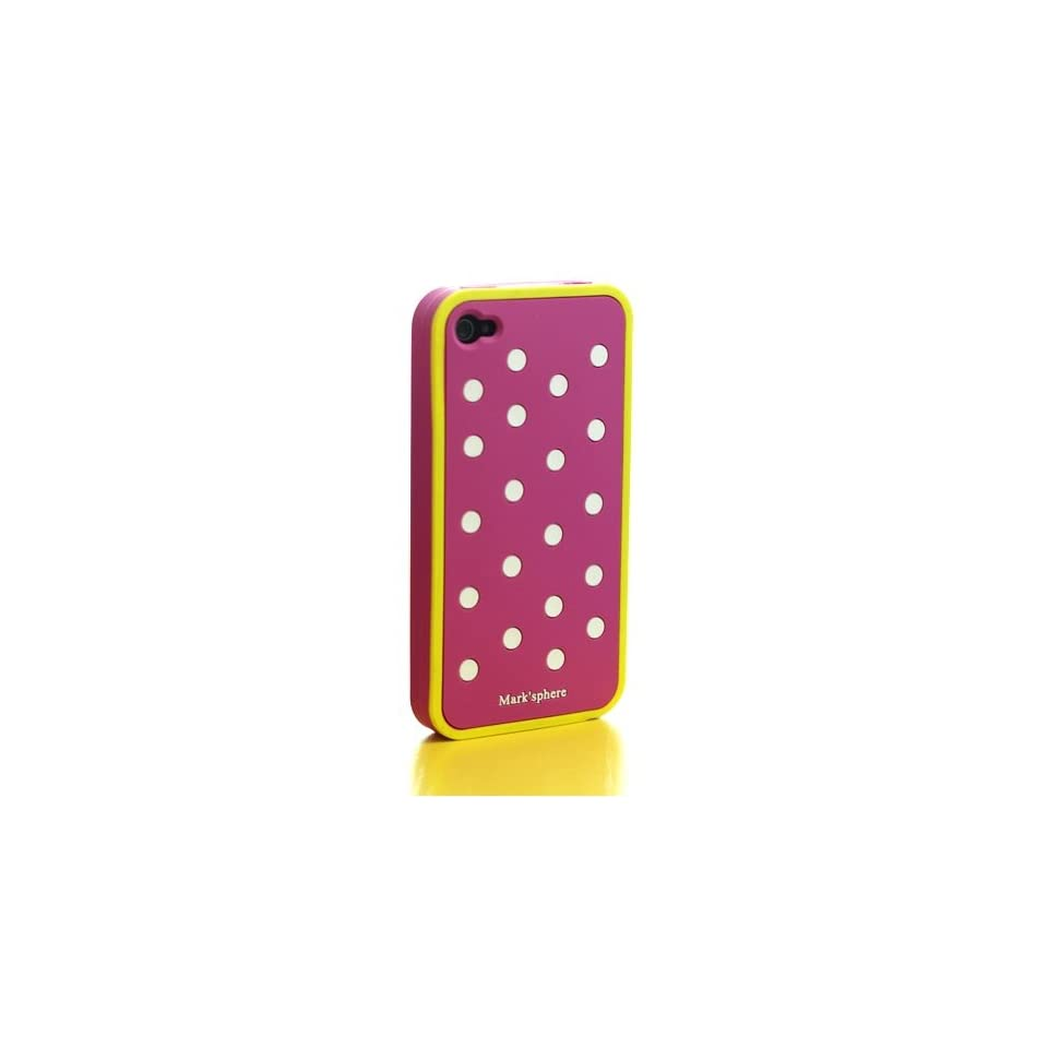SWEETBOX PREMIUM Marksphere Polka Dot Silicone Case For iPhone 4/4S   HOT PINK