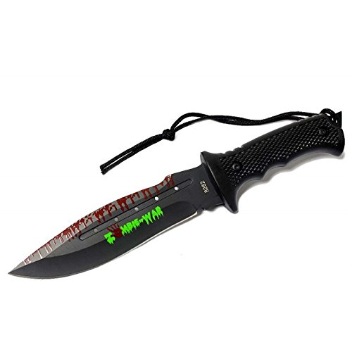 """New 9"""" Zombie-War Stainless Steel Hunting Knife With Black Handle 8262"""