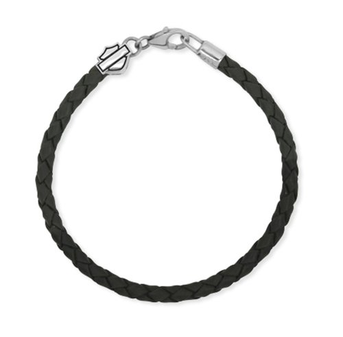 Harley-Davidson .925 Silver Ride Bead Leather Braided Womens Bracelet (7.5 Inches)