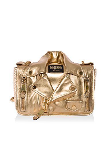 Moschino Women's Motorcycle Jacket Shoulder Bag, Gold