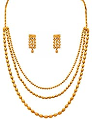 JFL - Traditional And Ethnic One Gram Gold Plated Multi Strands Oval Gold Beaded Necklace / Jewellery Set With...