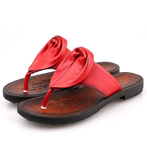 flops/Sandales de feuillet d'été femmes/Plats pantoufles en cuir/Creux de marée sur les chaussures de sport jeune sauvage
