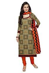 PShopee Orange Printed Unstitched Cotton Salwar Suit Dress Material