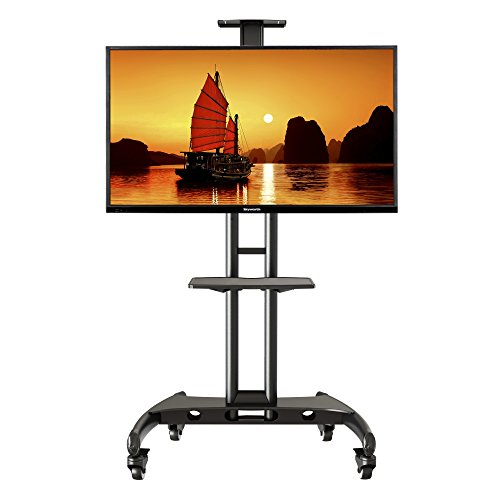North Bayou AVA1500-60-1P Universal Mobile TV Cart TV Stand with Mount for LED LCD Plasma Flat Panel Screens and Displays 32 To 65 Inch Up To 100lbs (Black, 1 Shelf) (55 Inch Tv Stand With Mount compare prices)