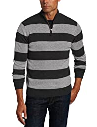 Williams Cashmere Men\'s 100% Cashmere Zip Mock Neck Stripe Sweater, Charcoal/Heather Grey, Medium