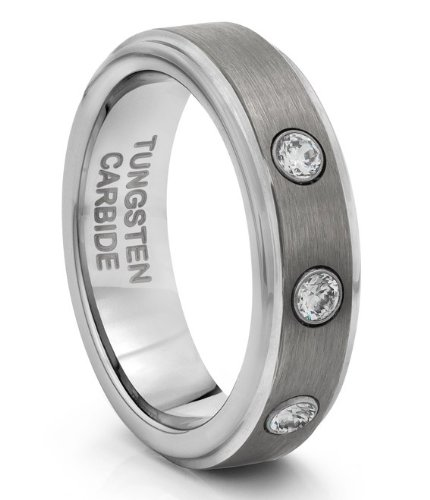 6MM Tungsten Carbide Brushed Silver CZ Wedding Band Ring (Available Sizes H - V)