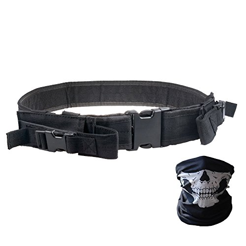 Tactical Belt - Heavy Duty Elite Law Enforcement Gear Utility Pistol Belt with Dual Mag Pouches - Bundled With Skull Face Tube Mask(Black 42'') (Full Auto Knives compare prices)