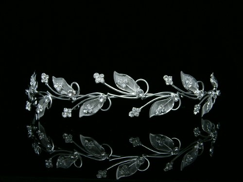 Vine Leaf Design Bridal Wedding Bridesmaid Prom Party Tiara Crown - Clear Crystals Silver Plating