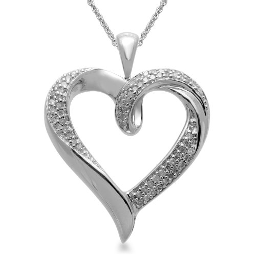 Sterling Silver Heart Pendant Necklace (1/5 cttw, I-J Color, I3 Clarity), 18