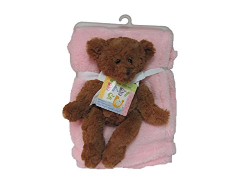 Cozy Fleece Fluffy Fleece Baby Blanket with Novelty Bear, Light Pink