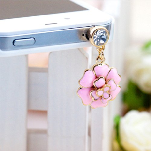 Buyinhouse 3.5Mm Bling Crystal Cellphone Charms Anti Dust Plug Ear Jack Cap For Iphone 4 4S Samsung Galaxy S2 S3 Note I9220 Htc Sony Nokia - Pink Flower Pendant Style