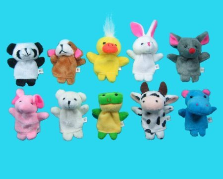 Qiyun 10 Pc Soft Plush Animal Finger Puppet Set (includes Elephant, Panda, Duck, Rabbit, Frog, Mouse, Cow, Bear, Dog, Hippo) - 1