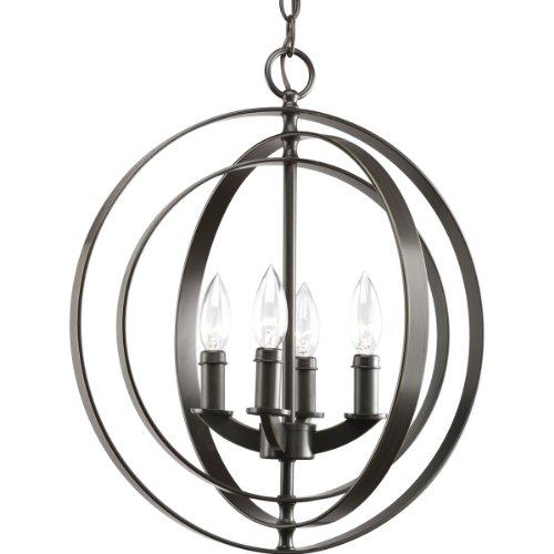 Progress Lighting P3827-20 4-Light Sphere Foyer Lantern With Pivoting Interlocking Rings, Antique Bronze front-784749