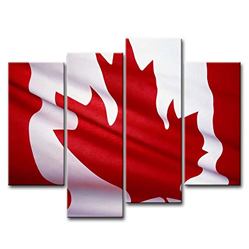 Black White And Red 4 Piece Wall Art Painting Canada National Flag Pictures Prints On Canvas Abstract The Picture Decor Oil For Home Modern Decoration Print