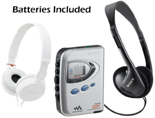 Sony Walkman Digital Tuning Slim Compact Portable Lightweight AM/FM Mega Bass Stereo Radio (Black) with Tape Cassette Player, Weather Band, 33 Station Preset Memory, DX Switch for Exceptional Reception, Protective Carry Case with Convenient Belt Clip, Ove