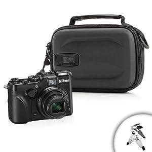 Hard Shell Impact-Resistant Comact Camera Case- Works with Nikon Coolpix P7700 , P7100/, Canon Powershot G10 , G12 , G15 and Many More Digital Cameras! *Bonus Mini Tripod*