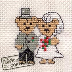 Mouseloft Mini Cross Stitch Card Kit - Bride and Groom, Occasions Collection