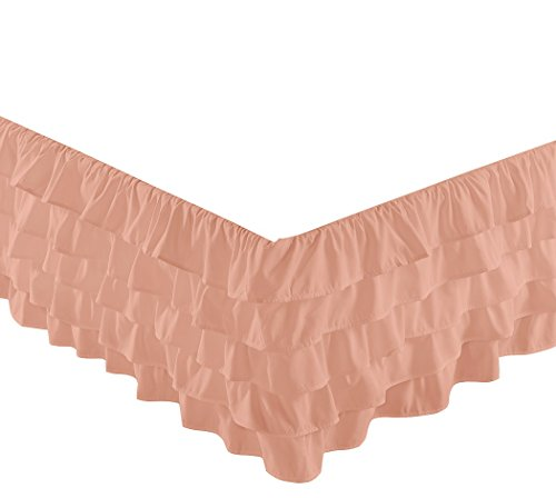 """Chezmoi Collection Ella 15"""" Drop Multi Ruffle Bed Skirt, Pink, Twin front-27955"""