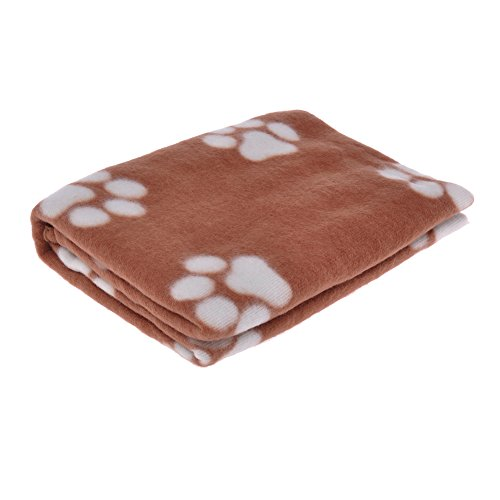"Neewer® 68X61Cm/26.8""X24"" Lovely Design Dog Paw Prints Fleece Couture Blanket Mat For Pet Dogs Cat (Brown) front-66529"