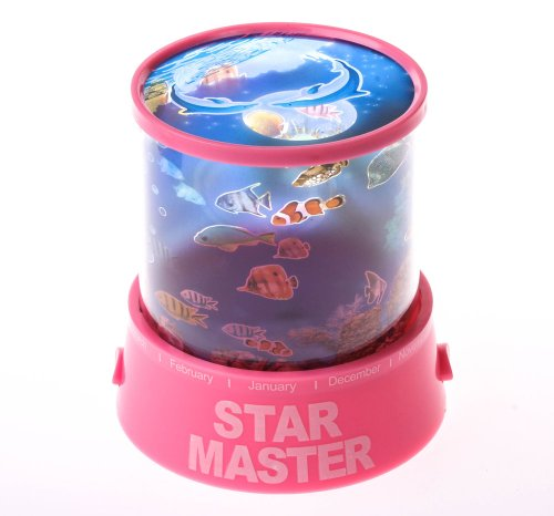 Jennyshop Pink Led Ocean Star Master Dolphin Moon Night Projector Light Lamp