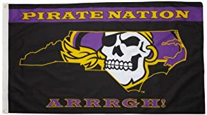 NCAA East Carolina Pirates 3-by-5 Foot Flag Pirate Nation with Grommets by BSI