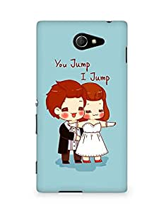 Amez designer printed 3d premium high quality back case cover for Sony Xperia M2 D2302 (Cartoon u jump i jump)