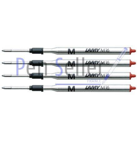Lamy: Grande Recharge Bille M16: Couleur: Rouge, Taille: F, Lot de 4.