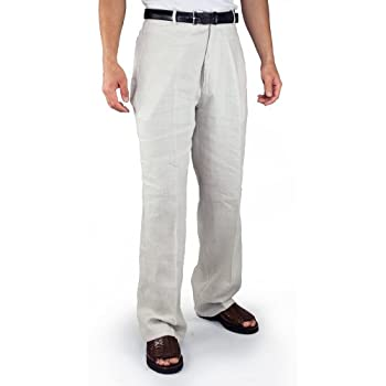 Flat front 100% Linen Pants in Natural