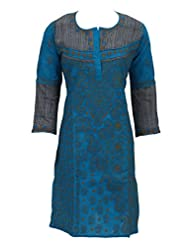 Lucknowi Chikankari Handmade Ethnic Blue Cotton Casual Regular Fit Kurti Dress By Ada A68726