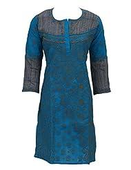 Lucknowi Chikankari Handmade Ethnic Blue Cotton Casual Regular Fit Kurti Dress By Ada A68726