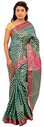 Monash Creations Women's Silk Zari Saree (Mc2 _Turquoise/Pink)