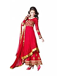 Fashana Women Embroidered Anarkali Suit Red_Free Size
