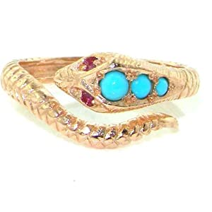 Fabulous Solid Rose 9K Gold Natural Turquoise & Ruby Detailed Snake Ring - Size 4 - Finger Sizes 4 to 12 Available - Perfect Children's Girls Ring