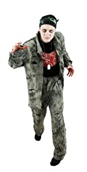Mens Zombie Soldier Halloween Fancy Dress Costume Bad Taste Party Camouflage Style Top & Trousers + Gruesome Chest Piece + Camo Bandana + Dogtags Fits Upto 44 Inch Chest