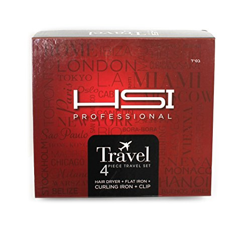 HSI Professional Travel Set with Mini Flat Iron Hair Straightener, Curling Iron, Hair Dryer, Diffuser and Clip