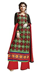 Adaa Women's Cotton Unstitched Dress Material (SK-MT-634_Red_Free Size)