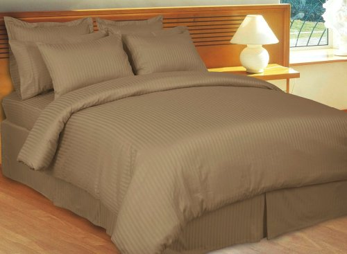 Stripes Taupe 300 thread count Queen Size 8pc